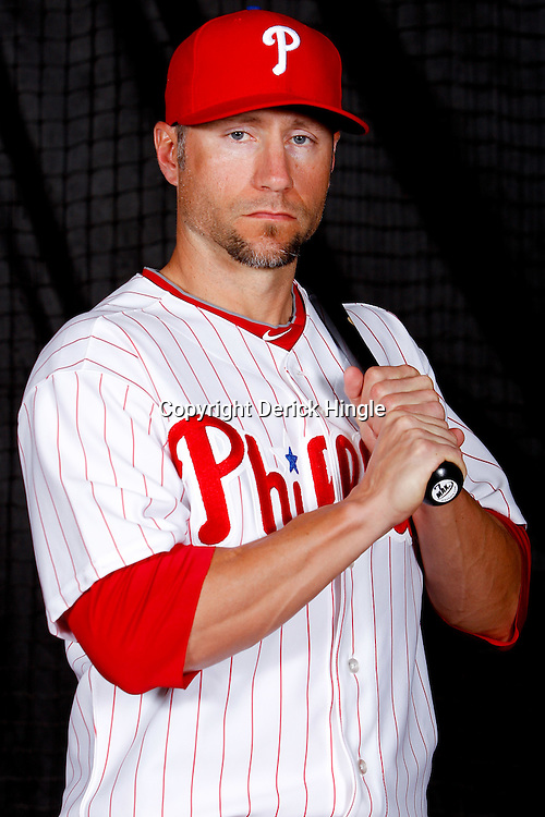 February 22, 2011; Clearwater, FL, USA;Philadelphia Phillies first baseman Ross Gload (7) poses during photo day at Bright House Networks Field. Mandatory Credit: Derick E. Hingle
