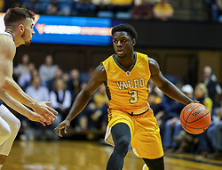 Nov 24, 2018; Morgantown, WV, USA; Valparaiso Crusaders guard Daniel Sackey (3) dribbles the ball during the first half against the West Virginia Mountaineers at WVU Coliseum. Mandatory Credit: Ben Queen-USA TODAY Sports