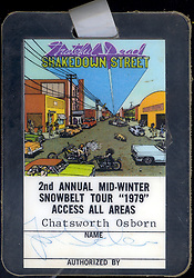 "Grateful Dead 1979 Concert Tour Laminate ""Snowbell Tour"" January 1979. Credentialed with the name of fictional TV character Chatsworth Osborn from the show The Many Loves of Dobie Gillis. Badge signed by John Scher."