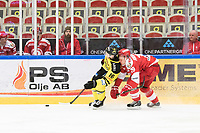 2019-01-16 | Ljungby, Sweden: Vimmerby (16) Jakob Karlsson and Troja-Ljungby (19) Johan Andersson during the game between IF Troja / Ljungby and Vimmerby HC at Ljungby Arena ( Photo by: Fredrik Sten | Swe Press Photo )<br /> <br /> Keywords: Icehockey, Ljungby, HockeyEttan, IF Troja / Ljungby, Vimmerby HC, Ljungby Arena, AllEttan Södra