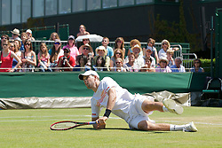 LONDON, ENGLAND - Monday, June 28, 2010: Bob Bryan (USA) during the Gentlemen's Doubles 2nd Round match on day seven of the Wimbledon Lawn Tennis Championships at the All England Lawn Tennis and Croquet Club. (Pic by David Rawcliffe/Propaganda)