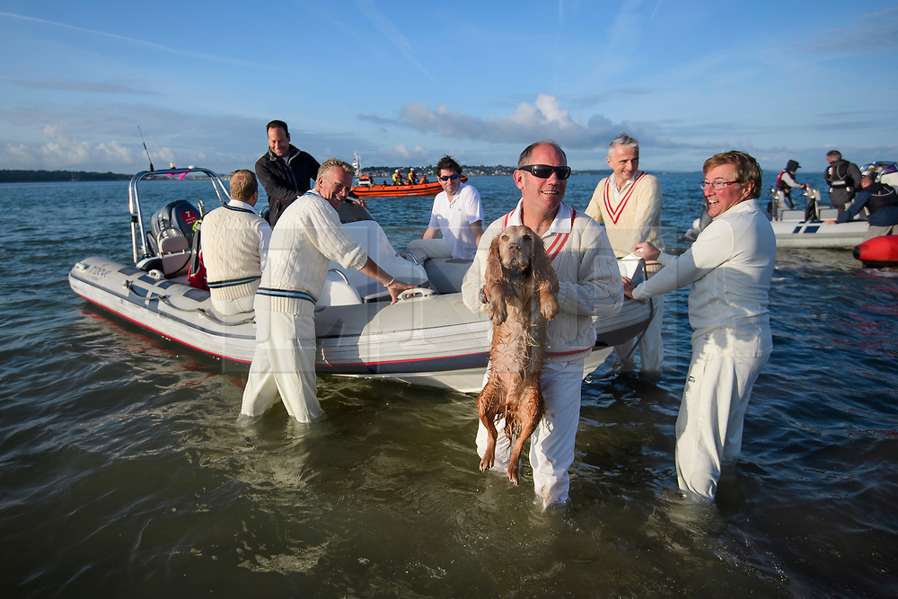 © Licensed to London News Pictures. 24/08/2017. Solent, UK. A naked dog is carried to a boat after the match. Teams take part in the Brambles Bank Cricket Match in the middle of The Solent strait on August 24, 2017. The annual cricket match between the Royal Southern Yacht Club and The Island Sailing Club, takes place on a sandbank which appears for 30 minutes at lowest tide. The game lasts until the tide returns. Photo credit: Ben Cawthra/LNP