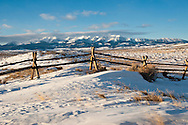 Bridger Mountains and jackleg fence, west of Wilsall, MT, PROPERTY RELEASED