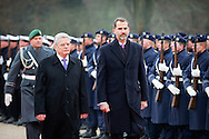 1-12-2014 BERLIN - King Felipe and Queen Letizia of Spain visit German President Joachim Gauck and his wife Daniella Schadt at Schloss Bellevue in Berlin, Germany, 1 December 2014. The King and Queen are in Germany for an official visit. COPYRIGHT ROBIN UTRECHT