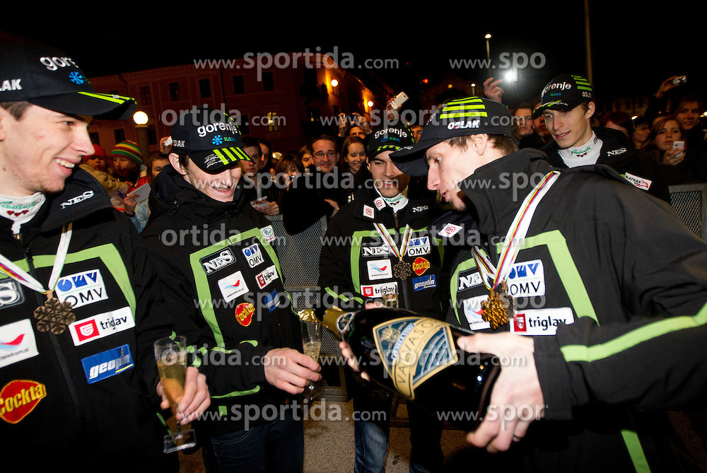 Jure Sinkovec, injured Peter Prevc, Jernej Damjan,  Robert Kranjec and Jurij Tepes during reception of Slovenian Ski jumping team after they get bronze team medal and R. Kranjec became World Champion at FIS Ski Flying World Championships 2012 in Vikersund, Norway, on February 28, 2012 in Kongresni try, Ljubljana, Slovenia.  (Photo By Vid Ponikvar / Sportida.com)