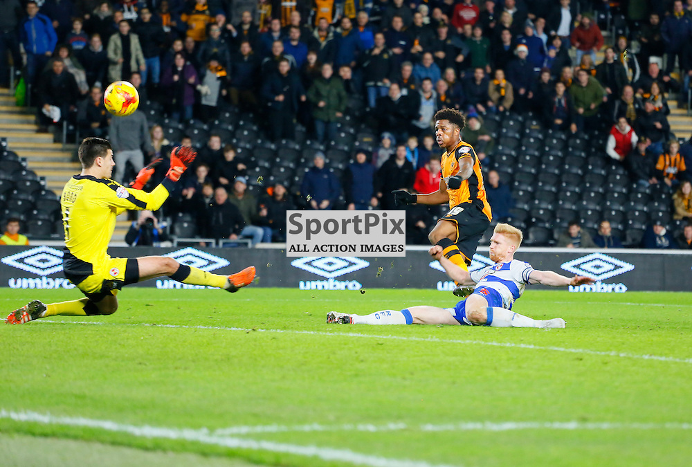 Jonathan Bond saves and keeps out Chuba Akpom's shot during Hull City v Reading, SkyBet Championship, Wednesday 16th December 2015, KC Stadium, Hull