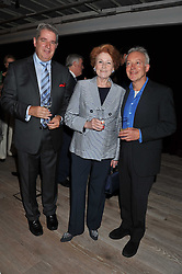 Left to right, STUART HOLMES, LADY ELIZABETH ANSON and NICKOLAS GRACE at a party to celebrate the publication of Joan Collin's  autobiography - The World According to Joan, held at the British Film Institute, South Bank, London SE1 on 8th September 2011.