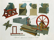 Needle-making equipment including, fig 2: George Prior's dry grinder with box partly enclosing grindstone to minimise dust (1813). From 'Encyclopaedia Londinensis', London, 1819. Hand-coloured engraving.