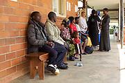 A queue of patients at Kitovu Hospital, Uganda.