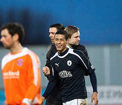 Falkirk's Lyle Taylor and Steven Pressley, Falkirk manager at the end..Falkirk 4 v 1 Forfar Athletic, Scottish Cup fifth round tie, 2/2/2013. .©Michael Schofield.