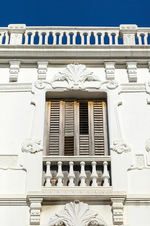 TETOUAN, MOROCCO - 6th April 2016 - Window shutter colonial architecture in the Tetouan Medina, Rif region of Northern Morocco.