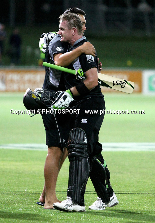 Captain Ross Taylor welcomes Scott Styris off the field after the win. New Zealand Black Caps v Australia. 1st ODI, Chappell-Hadlee Trophy Series. McLean Park, Napier. Wednesday 03 March 2010  Photo: John Cowpland/PHOTOSPORT