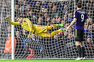 Adrian of West Ham United cannot prevent Kevin Mirallas of Everton (not shown) scoring his team's first goal against West Ham United to make it 1-1 during the FA Cup match at the Boleyn Ground, London<br /> Picture by David Horn/Focus Images Ltd +44 7545 970036<br /> 13/01/2015