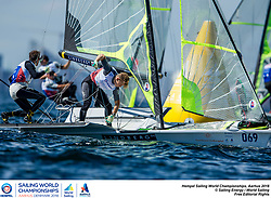 Aarhus, Denmark is hosting the 2018 Hempel Sailing World Championships from 30 July to 12 August 2018. More than 1,400 sailors from 85 nations are racing across ten Olympic sailing disciplines as well as Men's and Women's Kiteboarding. <br /> 40% of Tokyo 2020 Olympic Sailing Competition places will be awarded in Aarhus as well as 12 World Championship medals. ©PEDRO MARTINEZ/SAILING ENERGY/AARHUS 2018<br /> 09 August, 2018.