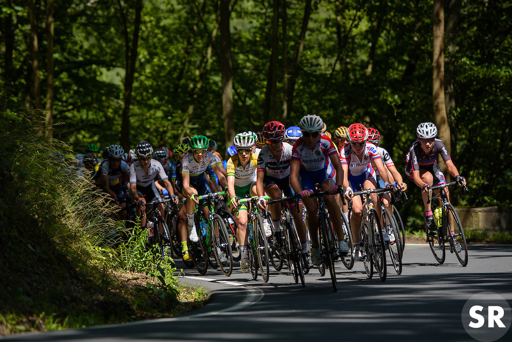 Climbing through the trees, Amanda Spratt catches the light at Thüringen Rundfarht 2016 - Stage 6 a 130 km road race starting and finishing in Schleiz, Germany on 20th July 2016.