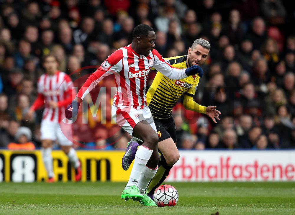 Giannelli Imbula of Stoke City takes on Valon Behrami of Watford - Mandatory byline: Robbie Stephenson/JMP - 19/03/2016 - FOOTBALL - Vicarage Road - Watford, England - Crystal Palace v Leicester City - Barclays Premier League