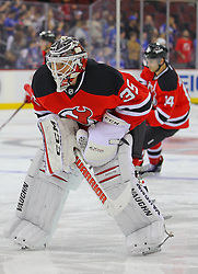 Sep 16, 2013; Newark, NJ, USA; New Jersey Devils goalie Cory Schneider (35) during pre-game warmups at Prudential Center.