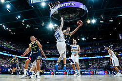 Lauri Markkanen of Finland vs Goran Dragic of Slovenia during basketball match between National Teams of Finland and Slovenia at Day 3 of the FIBA EuroBasket 2017 at Hartwall Arena in Helsinki, Finland on September 2, 2017. Photo by Vid Ponikvar / Sportida