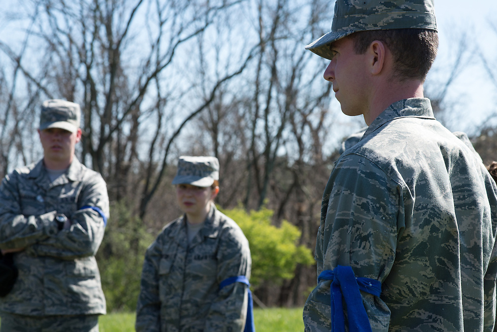 The blue team reviews the exercise and where the succeeded and failed at teh end of the Airforce ROTC's Mobile Exercise on April 16, 2016. Photo by Ohio University / Kaitlynn Stone