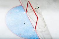 KELOWNA, CANADA - OCTOBER 31: The puck stops in the crease after an empty net goal by the Kelowna Rockets against the Lethbridge Hurricanes on October 31, 2015 at Prospera Place in Kelowna, British Columbia, Canada.  (Photo by Marissa Baecker/Shoot the Breeze)  *** Local Caption *** puck; crease;