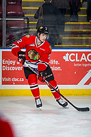KELOWNA, BC - MARCH 02:  Kade Nolan #2 of the Portland Winterhawks warms up on the ice against the Kelowna Rockets  at Prospera Place on March 2, 2019 in Kelowna, Canada. (Photo by Marissa Baecker/Getty Images)