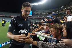March 4, 2017 - Auckland, New Zealand - Trent Boult of New Zealand takes selfie with fans  after l the final match of  One Day International series between New Zealand and South Africa at Eden Park on March 4, 2017 in Auckland, New Zealand (Credit Image: © Shirley Kwok/Pacific Press via ZUMA Wire)