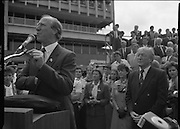 Irish Soccer Team Welcomed Home.   (R81)..1988..19.06.1988..06.19.1988..19th June 1988..After their great success in Germany in Euro 88, the Irish soccer team had a triumphant homecoming. An Taoiseach, Charles Haughey TD and his government were to the forefront of the welcome. Thousands of fans thronged the airport and all the approach roads in the hope of seeing the team. The full squad is as follows..1.GK.Packie Bonner. Celtic.2.DF.Chris Morris. Celtic.3.DF.Chris Hughton  Tottenham Hotspur.4.DF.Mick McCarthy. Celtic.5.DF.Kevin Moran. Manchester United.6.MF.Ronnie Whelan. Liverpool.7.MF.Paul McGrath. Manchester United.8.MF.Ray Houghton. Liverpool.9.FW.John Aldridge. Liverpool.10.FW.Frank Stapleton Derby County.11.MF.Tony Galvin. Sheffield Wednesday.12.FW.Tony Cascarino. Millwall.13.MF.Liam O'Brien. Manchester United.14.FW.David Kelly. Walsall.15.MF.Kevin Sheedy. Everton.16.GK.Gerry Peyton. Bournemouth.17.FW.John Byrne. Le Havre.18.FW.John Sheridan. Leeds United.19.DF.John Anderson. Newcastle United.20.FW.Niall Quinn. Arsenal..Irish Team Manager, Jack Charlton, is pictured taking his place at the microphone during the homecoming celebration.