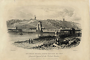 Swing bridge at Rye, Sussex, England: South Eastern Railway. Engraving 1852.