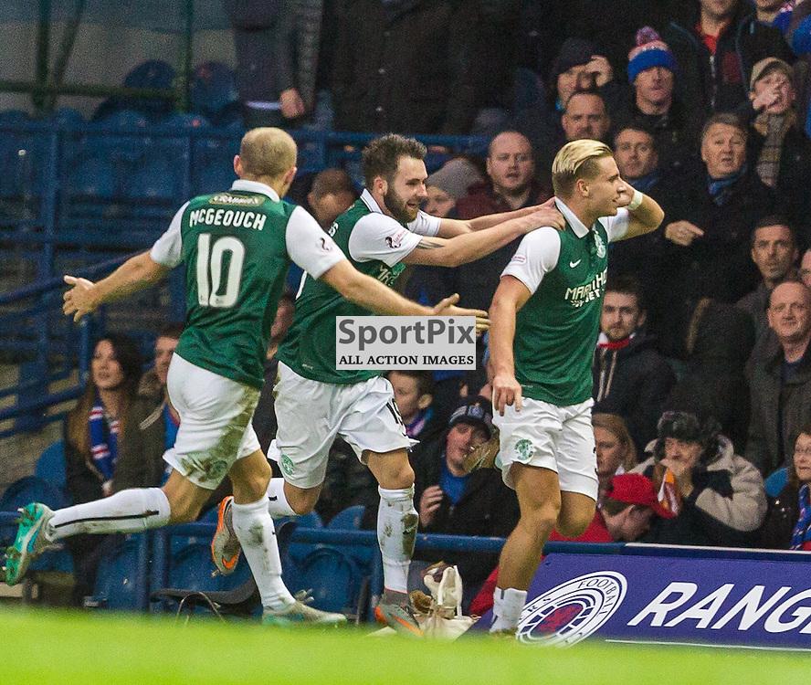 Jason Cummings scores during the match between Rangers and Hibernian (c) ROSS EAGLESHAM | Sportpix.co.uk