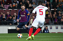 January 30, 2019 - Barcelona, Spain - Leo Messi and Amadou during the match between FC Barcelona and Sevilla FC, corresponding to the secong leg of the 1/4 final of the spanish cup, played at the Camp Nou Stadium, on 30th January 2019, in Barcelona, Spain. Photo: Joan Valls/Urbanandsport /NurPhoto. (Credit Image: © Joan Valls/NurPhoto via ZUMA Press)