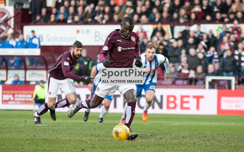 Hearts v Kilmarnock, Scottish Premiership, 27 February 2016, Abiola Dauda (Hearts, 25) misses a penalty during the Hearts v Kilmarnock Scottish Premiership match played at Tynecastle Stadium, © Chris Johnston | SportPix.org.uk
