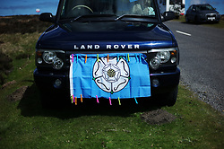 (c) Licensed to London News Pictures. <br /> 28/04/2017<br /> Goathland, UK<br /> <br /> A Land Rover is decorated with the flag of Yorkshire ahead of the Tour de Yorkshire cycling race on Stage 1 of the three stage race.<br /> <br /> Photo Credit: Ian Forsyth/LNP