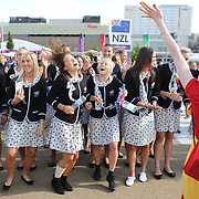 The New Zealand women's football team dance with members of The National Youth Theatre during their spectacular performance at the welcoming ceremony at the Athletes village for the New Zealand team at Olympic Park, Stratford during the London 2012 Olympic games. London, UK. 19th July 2012. Photo Tim Clayton