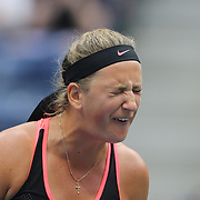 Victoria Azarenka, Belarus, during her loss against Simona Halep, Romania, in the Women's Singles Quarterfinals match during the US Open Tennis Tournament, Flushing, New York, USA. 9th September 2015. Photo Tim Clayton