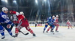 03.01.2015, Klagenfurter Wörthersee Stadion, Klagenfurt, AUT, EBEL, EC KAC vs EC VSV, 35. Runde, in picture Eric Hunter (EC VSV, #51) vs Michael Siklenka (EC KAC, #23) during the Erste Bank Icehockey League 35. Round between EC KAC and EC VSV at the Klagenfurter Wörthersee Stadion, Klagenfurt, Austria on 2015/01/03. Photo by Matic Klansek Velej / Sportida