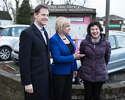 © Licensed to London News Pictures . 13/01/2015 . Stockport , UK . Deputy Prime Minister Nick Clegg (l) meets residents of Hazel Grove and Lib Dem PPC Lisa Smart (centre) , who is standing in place of outgoing Lib Dem MP for Hazel Grove , Andrew Stunell . Photo credit : Joel Goodman/LNP