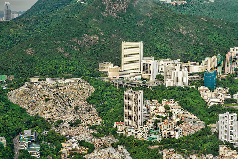 Pok Fu Lam Cemetery (left) and Queen Mary Hospital (center right)