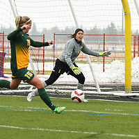 5th year goalkeeper Kacey McFee (1) of the Regina Cougars in action during the Women's Soccer  road trip to Saskatoon on October 9 at Griffiths Stadium. Credit: Arthur Ward/Arthur Images