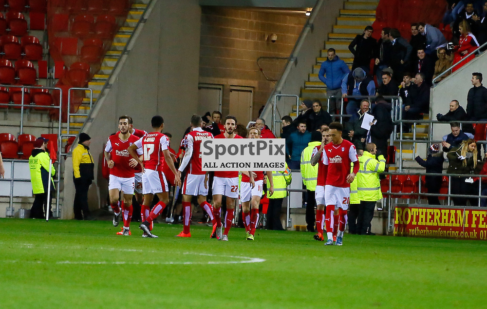 Rotherham celebrate during Rotherham United v Brighton, SkyBet Championship, Tuesday 12th January 2016, AESSEAL New York Stadium, Rotherham