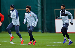 LIVERPOOL, ENGLAND - Tuesday, March 12, 2019: Liverpool's Dejan Lovren, Mohamed Salah and Rhian Bewster during a training session at Melwood Training Ground ahead of the UEFA Champions League Round of 16 1st Leg match between FC Bayern München and Liverpool FC. (Pic by Laura Malkin/Propaganda)