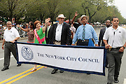 September 3, 2012- Brooklyn, New York: (L-R) New York City Council Speaker Christine Quinn, Council Members Domenic M. Recchia, Jr, Leroy Comrie, and Robert Jackson attend the 45th Annual West Indian Day Labor Day Celebration held on September 3, 2012 along Brooklyn's famed Eastern Parkway. It's one of New York City's most popular parades, a cultural festival that celebrates West Indian history, culture, music and food. Attended by as many as two million people. ((Photo by Terrence Jennings)