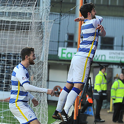 Thomas O'Ware (Morton) celebrates after scoring during the Scottish Championship match between Dundee United and Greenock Morton at Tannadice.<br /> <br /> (c) Dave Johnston | sportPix.org.uk