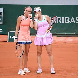 Kristina Mladenovic (france) and Timea Babos (Hungary) during Day 9 for the French Open 2018 on June 4, 2018 in Paris, France. (Photo by Anthony Dibon/Icon Sport)