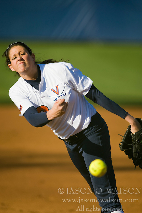 Virginia pitcher Carla Wilburn (12).  The Virginia Cavaliers softball team fell to the Georgetown Hoyas 4-0 at the University of Virginia's The Park in Charlottesville, VA on March 20, 2008.