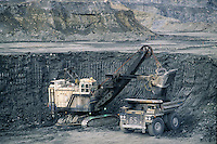 Mining truck and scoop. Town of Faro. Canada's largest open-pit lead-zinc mine.