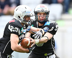 18.05.2013, Tivoli Stadion, Innsbruck, AUT, AFL, Swarco Raiders Tirol vs Danube Dragons, im Bild Andreas Hofbauer, (SWARCO Raiders Tirol, RB, #29) und Kyle Callahan, (SWARCO Raiders Tirol, QB, #6) // during the Austrian Football League Game between Swarco Raiders Tirol and Danube Dragons at the Tivoli Stadion, Innsbruck, Austria on 2013/05/18. EXPA Pictures © 2013, PhotoCredit: EXPA/ Thomas Haumer