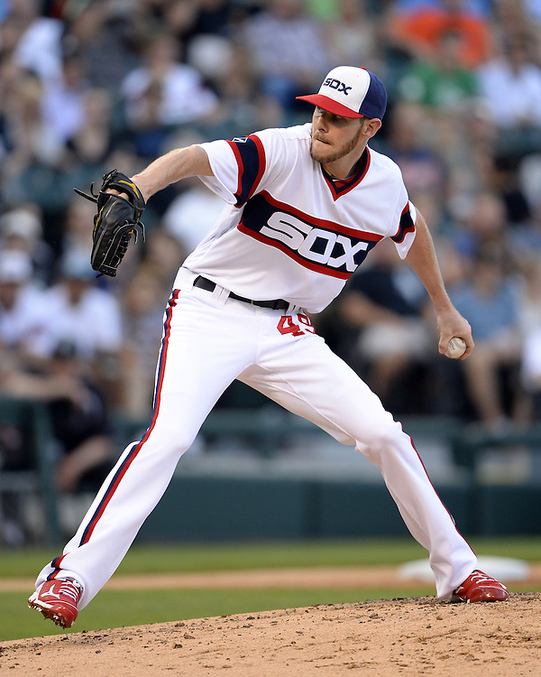 CHICAGO - JUNE 15:  Chris Sale #49 of the Chicago White Sox pitches against the Detroit Tigers on June 15, 2016 at U.S. Cellular Field in Chicago, Illinois.  Sale won his 11th game of the season as the White Sox defeated the Tigers 5-3.  (Photo by Ron Vesely)    Subject:  Chris Sale