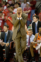Virginia head coach Dave Leitao yells from the bench.  The Maryland Terrapins defeated the Virginia Cavaliers men's basketball team 85-75 at the Comcast Arena in College Park, MD on January 30, 2008.