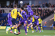 Shrewsbury Town defender Aaron Pierre (2) heads the ball during the EFL Sky Bet League 1 match between Oxford United and Shrewsbury Town at the Kassam Stadium, Oxford, England on 7 December 2019.