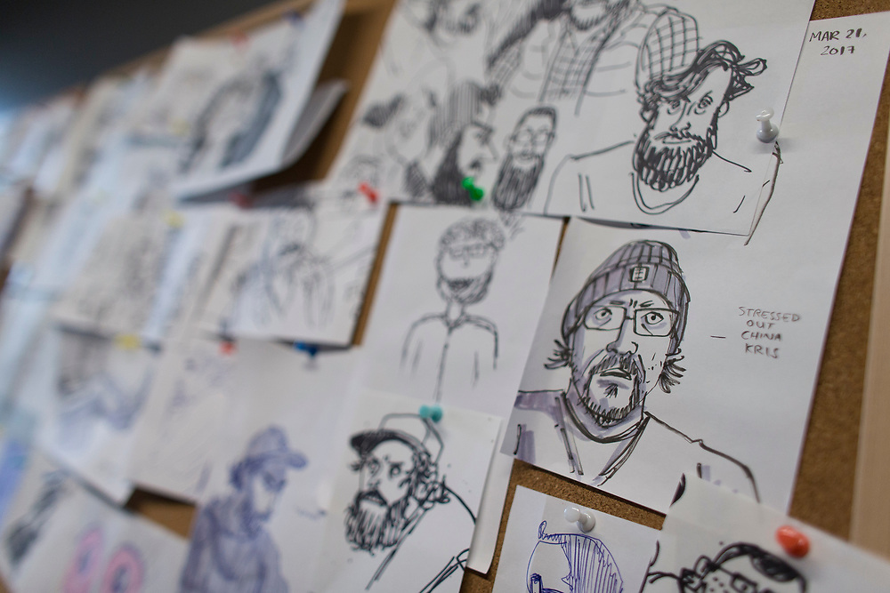 Doodles by the staff of each other at Bron Studio hang on the wall at their office in London Ontario, Wednesday,  September 6, 2017.<br /> Business London/ Geoff Robins